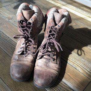 Steve madden distressed back zip combat boot brown
